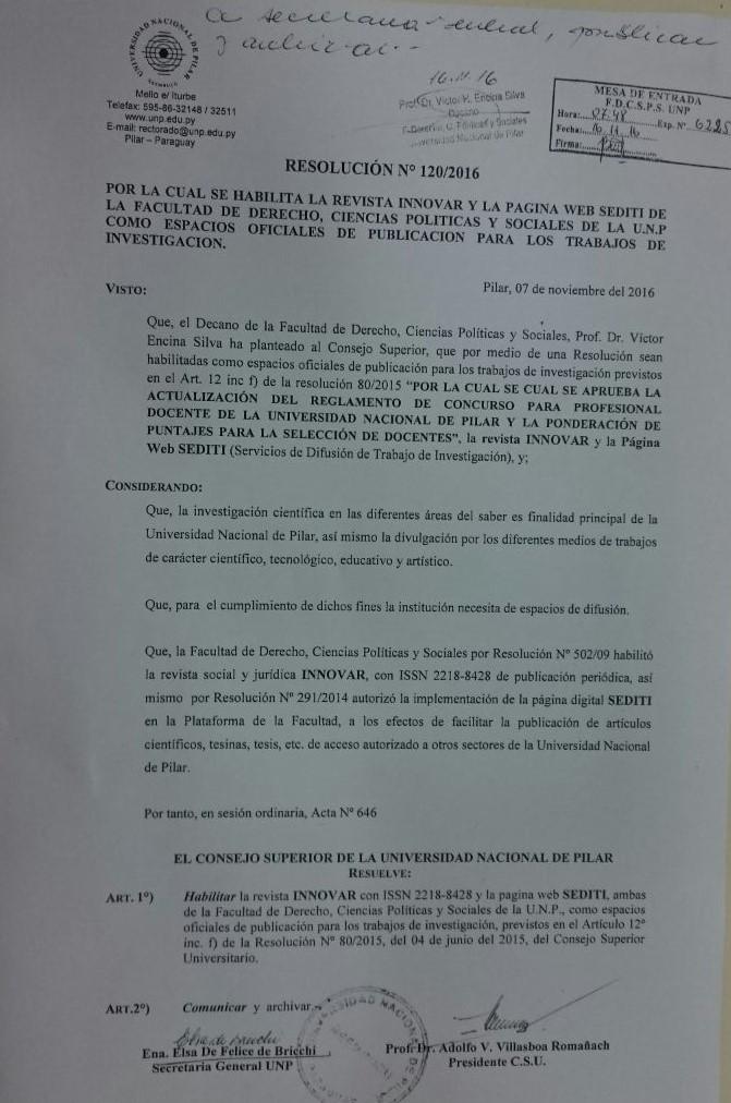 Revistas cient ficas archivos facultad de derecho for Resolucion docentes 2016